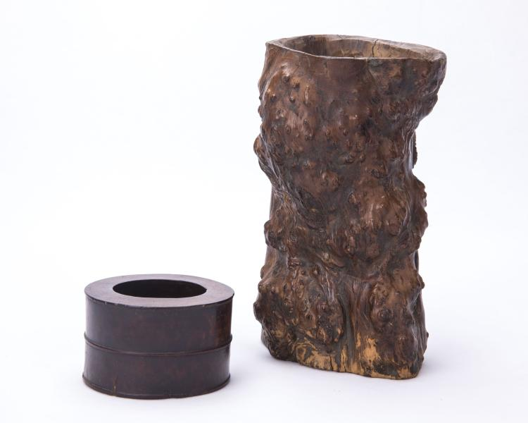 A Chinese Hardwood Brush Pot and A Water Pot