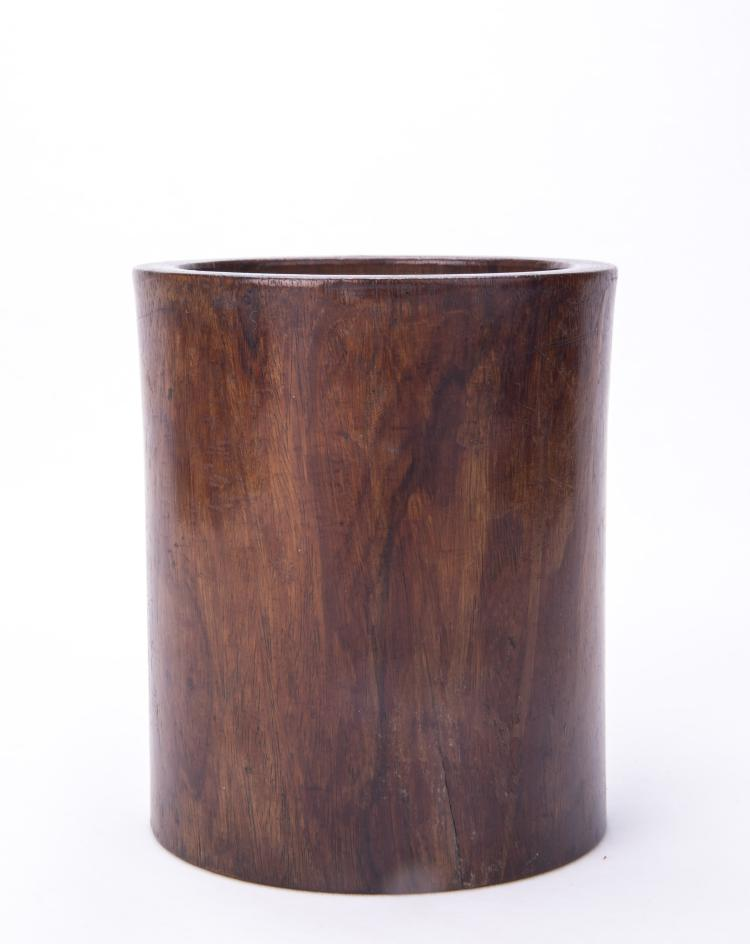 A Chinese Huali Wood Brush Pot