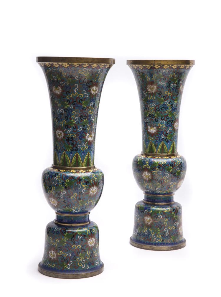 A Pair of Gu Type Cloisonn¨¦ Enamel Vases