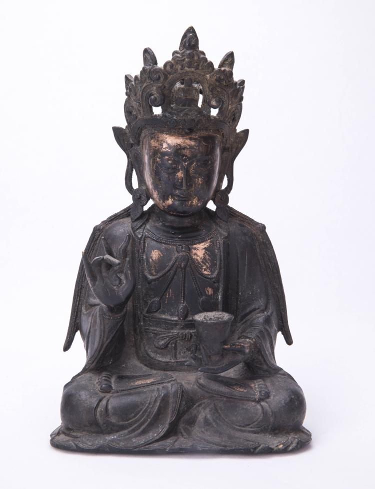 A Chinese Bronze Buddha with Figure of GuanYin