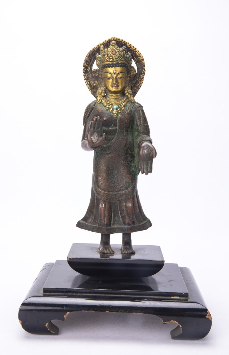 A Chinese Figure of Standing GuanYin with Wood Stand