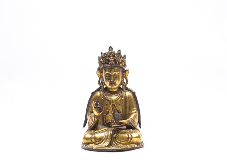 A Chinese Gilt Bronze Figure of GuanYin