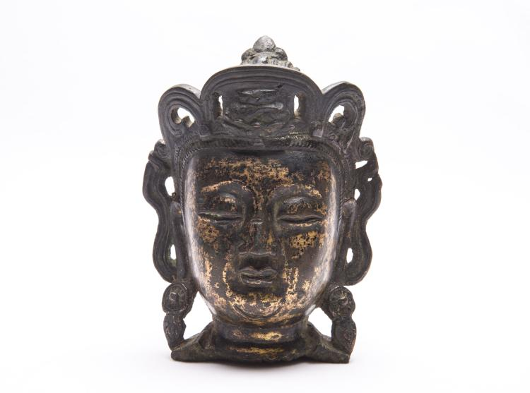 A Chinese Bronze Head of GuanYin
