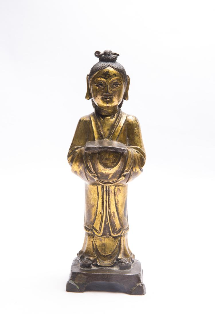 A Chinese Gilt Bronze Figure of Boy