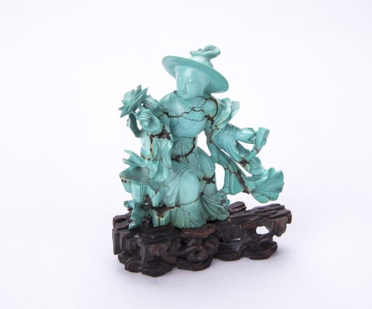 A Chinese Turquoise Decoration with Stand