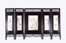 A Set of Five Porcelain Plaque Inlaid Screens
