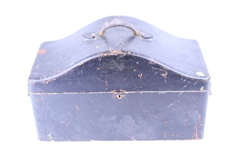 ANTIQUE MASONIC HAT BOX W/ STAND 16