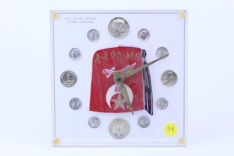 ZEMBO CLOCK W/ $2.30 FACE VALUE 1964 SILVER COINS