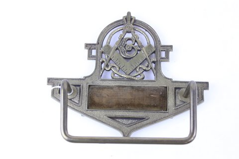 CAST IRON 1930'S MASONIC TOWL BAR 8