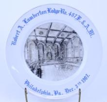 ANTIQUE MASONIC PLATE 1907