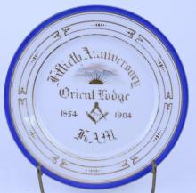 ANTIQUE MASONIC PLATE 1904