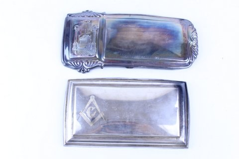 PAIR OF ANTIQUE MASONIC SILVER PLATE PLAQUES