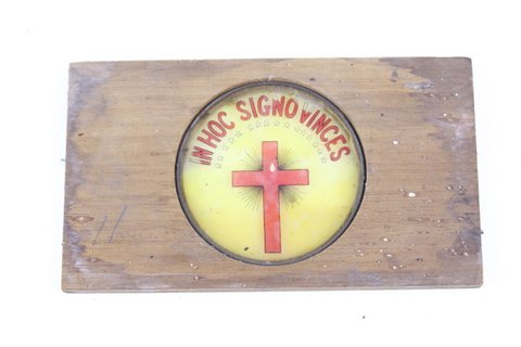 IN HOC SIGNO VINCES GLASS SLIDE IN WOOD FRAME