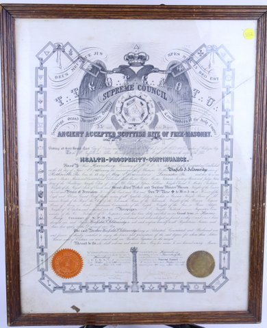 FRAMED MASONIC COUNCIL ACCEPTANCE CERTIFICATE 1903