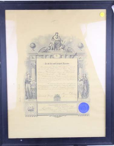 GRAND LODGE OF MAINE DOCUMENT FRAMED 1914