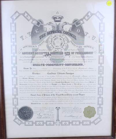 1945 MASONIC CERTIFICATE DOCUMENT FRAMED