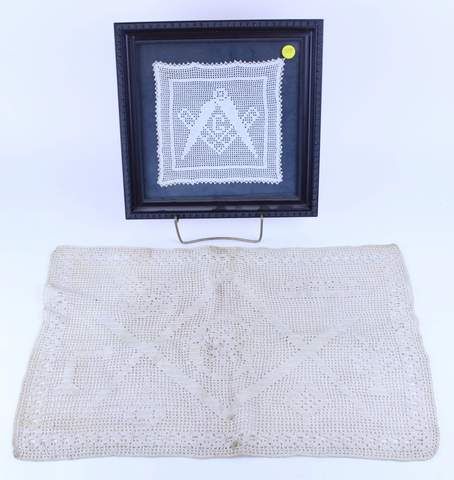 PAIR OF ANTIQUE MASONIC CROSS STITCH