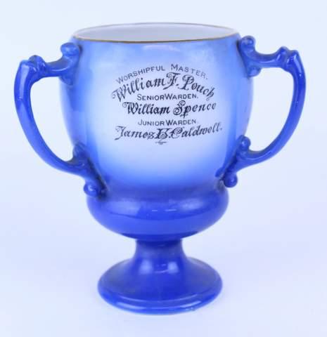 1910 MASONIC PHILADELPHIA 3 HANDLED TANKARD LOVE CUP