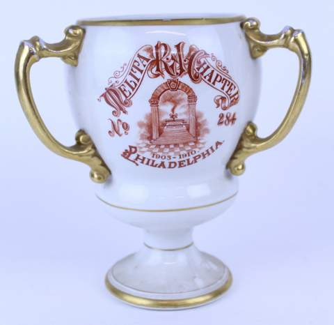 1910 MASONIC PHILADELPHIA DELTA CHAPTER 3 HANDLED TANKARD LOVE CUP