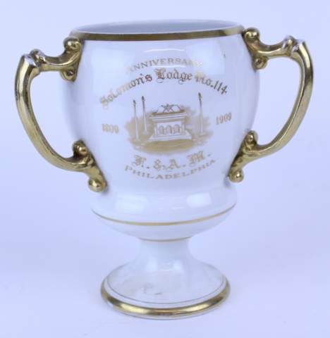 1909 MASONIC PHILADELPHIA SOLOMON'S LODGE 3 HANDLED TANKARD CUP