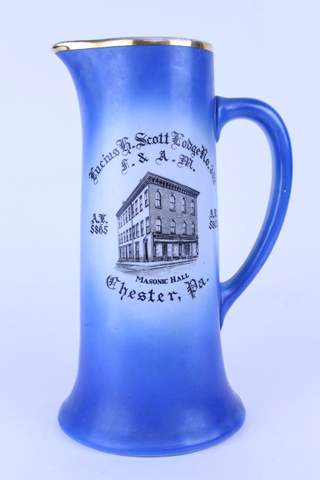 1913 LUCIUS SCOTT LODGE NO.352 CHESTER PA LARGE BLUE PITCHER 12