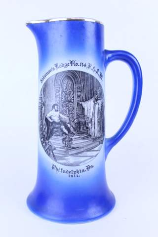 1911 SOLOMON'S LODGE NO.114 PHILADELPHIA PA LARGE BLUE PITCHER 12