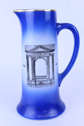 1911 CORINTHIAN LODGE F.&.A.M. NO.368 LARGE BLUE PITCHER 12