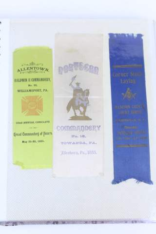 HUGE GROUP 50+ ANTIQUE MASONIC RIBBONS IN BINDER