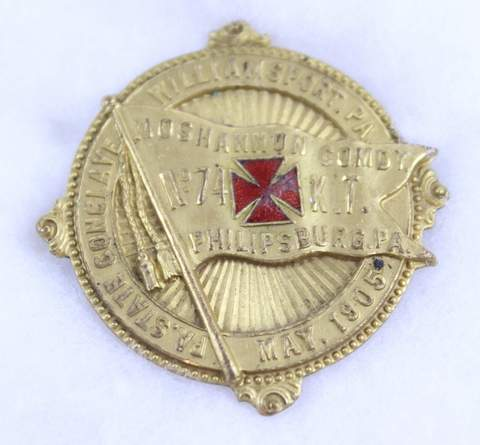 1905 PA STATE CONCLAVE WILLIAMSPORT NO.71 K.T. BADGE
