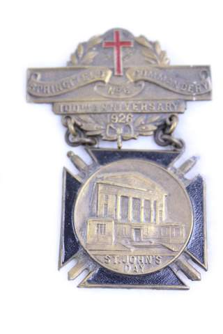 1926 SPRINGFIELD COMMANDERY 100TH ANN. NO.6 BADGE