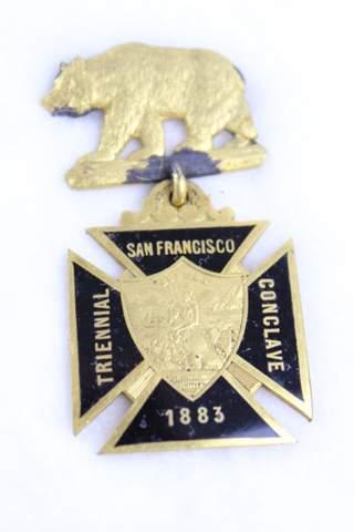 1883 TRIENNIAL SAN FRAN CONCLAVE BADGE