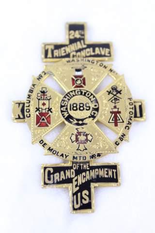 1889 24TH TRIENNIAL CONCLAVE GRAND ENCAMPMENT OF US BADGE
