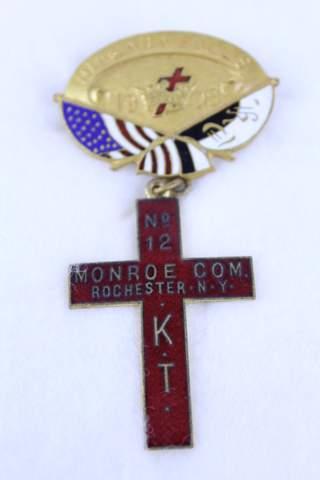 1908 NIAGARA FALLS NO.12 MONROE COMMANDERY NY BADGE