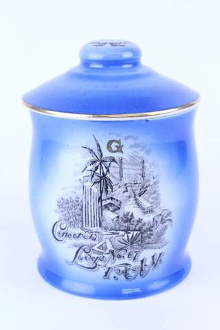 CONCORDIA LODGE NO.67 F.&.A.M. BISCUIT CRACKER LIDDED JAR