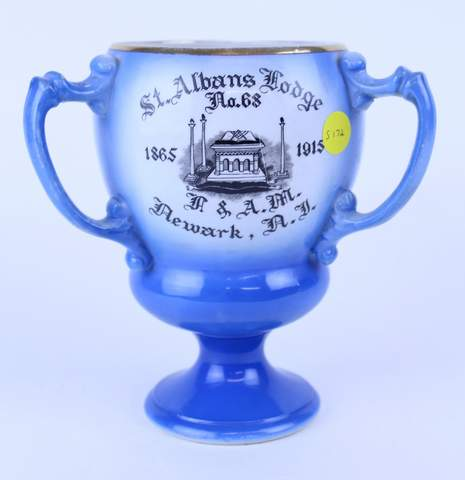 1915 ST. ALBANS LODGE NO.68 3 HANDLED TANKARD LOVE CUP