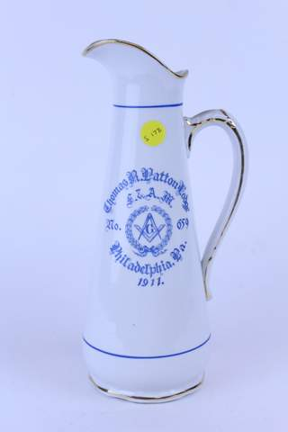 1911 THOMAS R. PATTON LODGE NO.659 PHILADLEPHIA PA PITCHER EWER