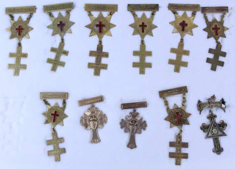 LOT OF 11 ANTIQUE MASONIC FREE MASON MEDALS BADGES