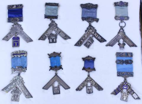 LOT OF 8 ANTIQUE MASONIC MEDALS BADGES (4 ARE STERLING SILVER)