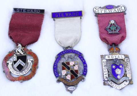 3 STERLING SILVER STEWARD MEDALS / JEWELS