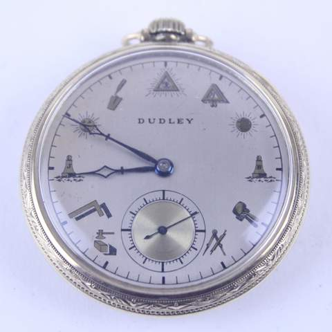 14K GOLD FILLED DUDLEY MASONIC POCKET WATCH 19 JEWEL MASONIC FACE