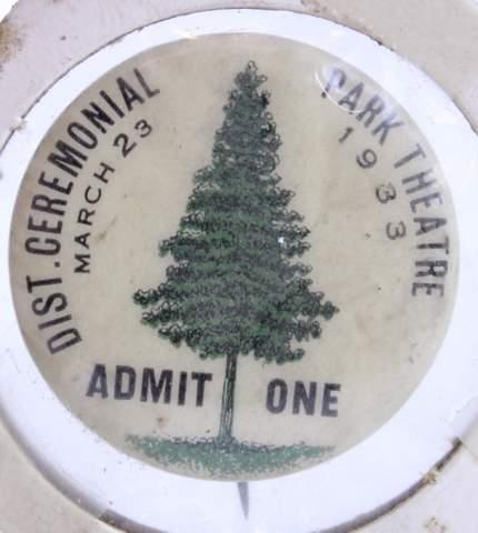 DIST. CEREMONIAL PARK THEATRE PIN 1933