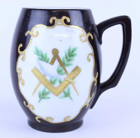 ANTIQUE BROWN HAND PAINTED MASONIC TANKARD STEIN