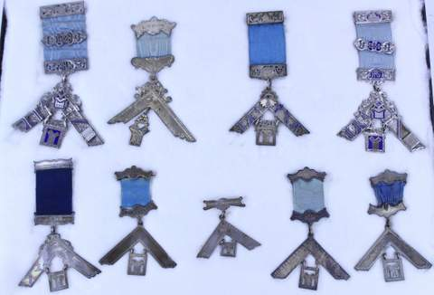 LOT OF 9 ANTIQUE MASONIC MEDALS (3 MARKED STERLING SILVER)