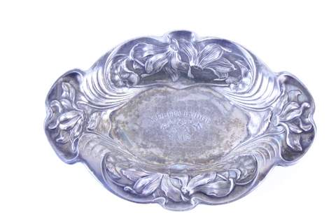 1912 MELITA LODGE NO.295 SILVER PLATE CANDY DISH