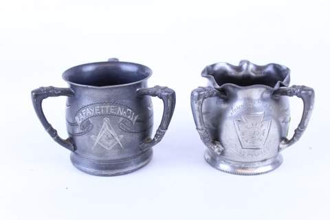 PAIR OF MASONIC 3 HANDLED TRIPLE SILVER PLATE CUPS