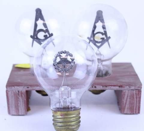 LOT OF 3 MASONIC AEROLUX LIGHT BULBS EASTERN STAR