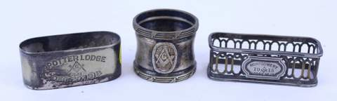 3 SILVER PLATE MASONIC NAPKIN HOLDERS