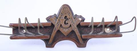 ANTIQUE WOOD CARVED MASONIC TIE RACK HANGER