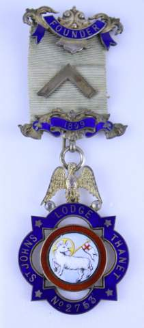 ANTIQUE MASONIC ENAMEL MEDAL BADGE