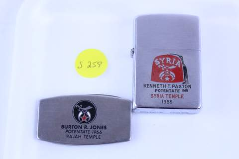 MASONIC RAJAH SHRINER ZIPPO LIGHTER AND POCKET KNIFE
